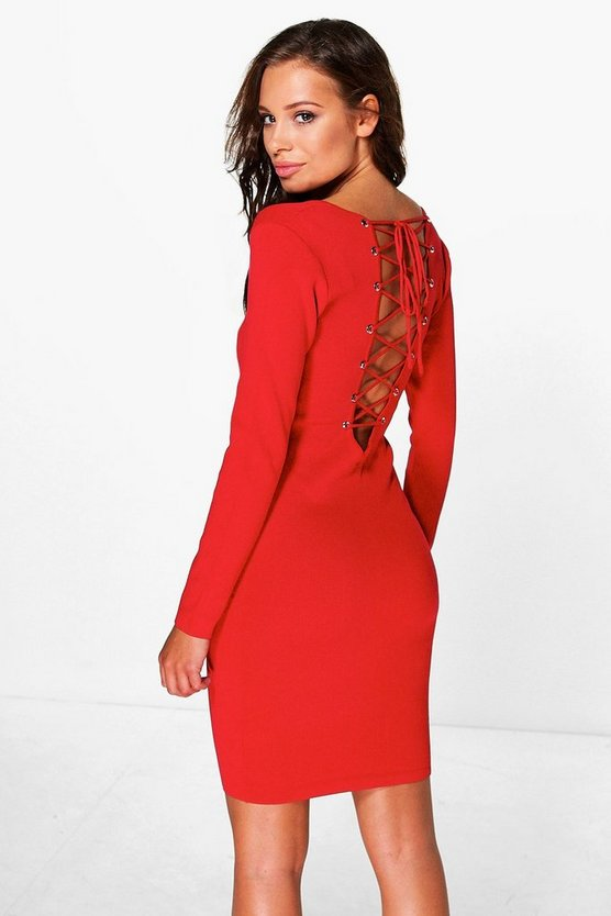 Ruby Eyelet Lace Up Back Knit Dress