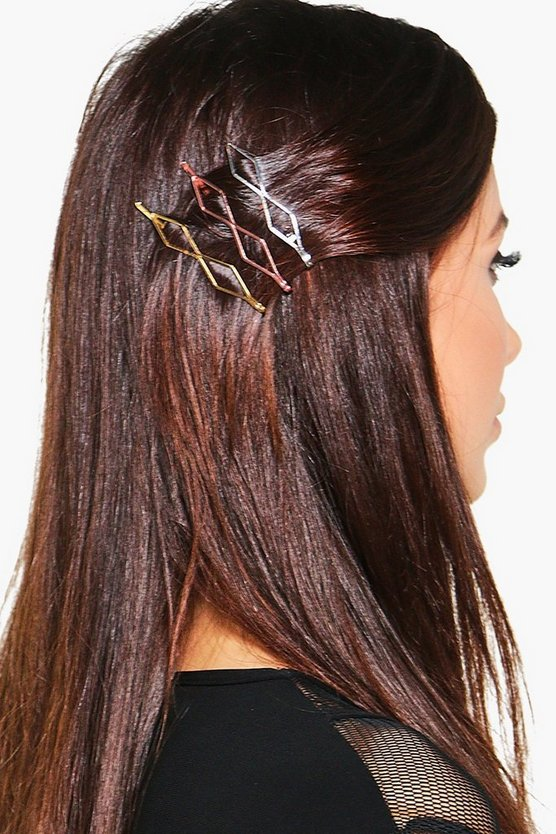 Kayla 3 Pack Mixed Metal Hair Clips
