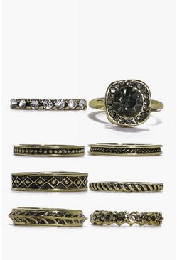 Lucy Gold Large Crystal Ring Pack