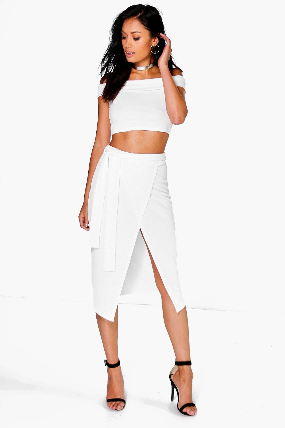 Cleo Off The Shoulder Crop And Tie Waist Midi Skirt Co-Ord