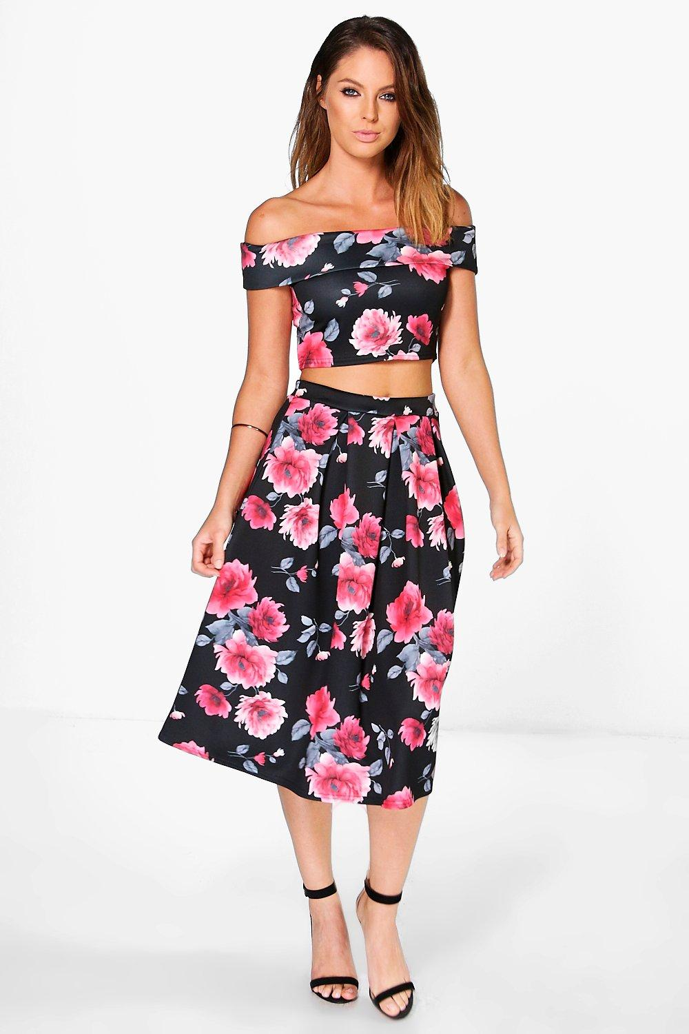 Ivy Off The Shoulder Dark Floral Crop And Midi Skirt Co-Ord