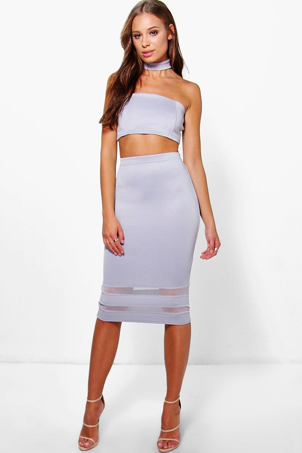 Keira Choker Crop Top And Mesh Insert Skirt Co-Ord