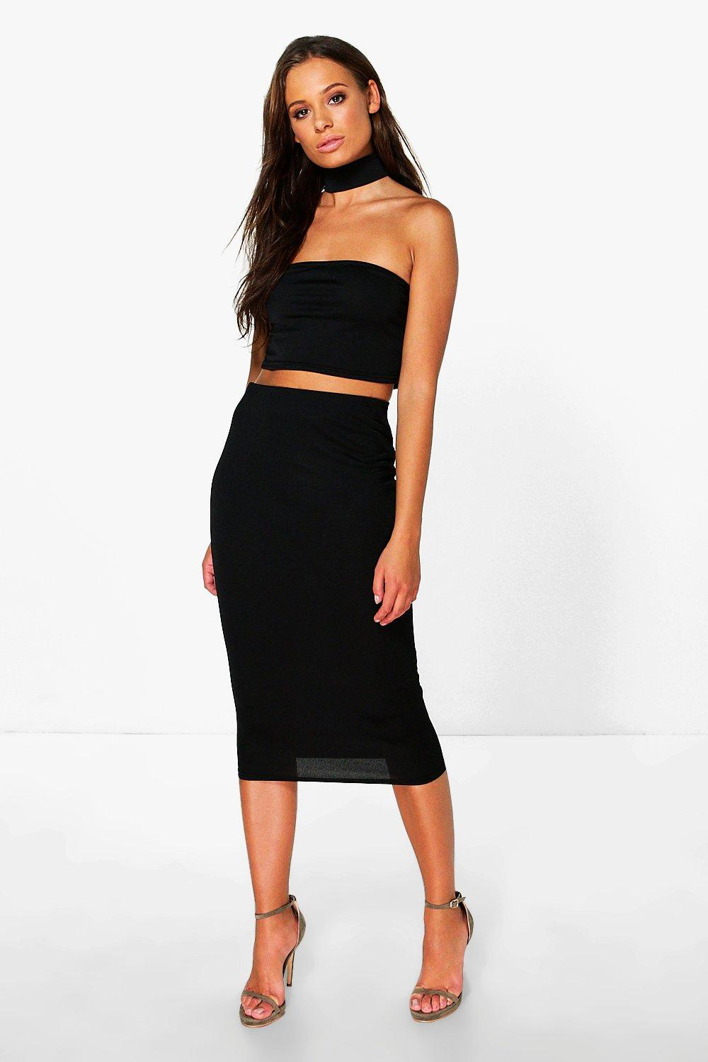 Molly Bralet With Choker And Midi Skirt Co-Ord