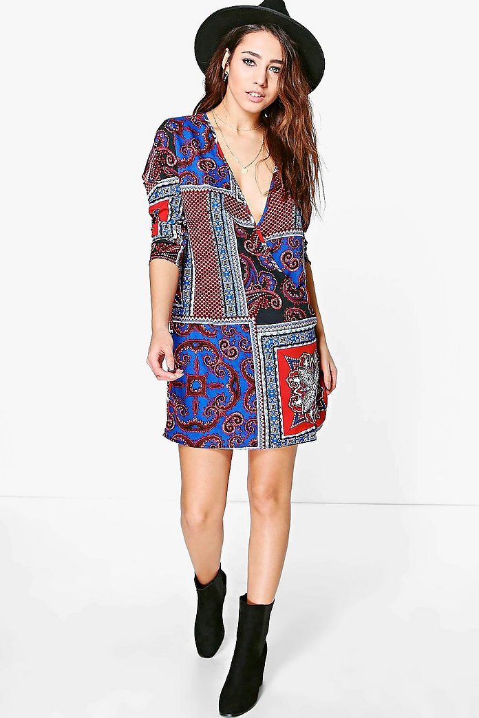 Leia Scarf Print Wrap Shirt Dress