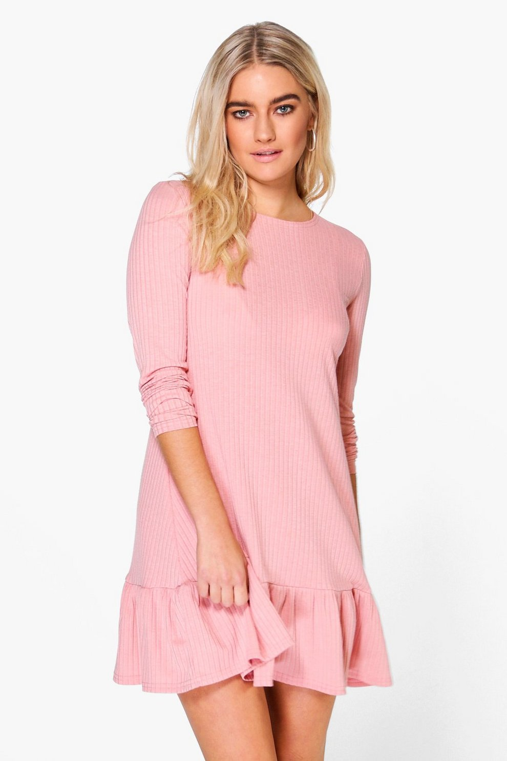 Esther Ruffle Hem Swing Dress | Boohoo