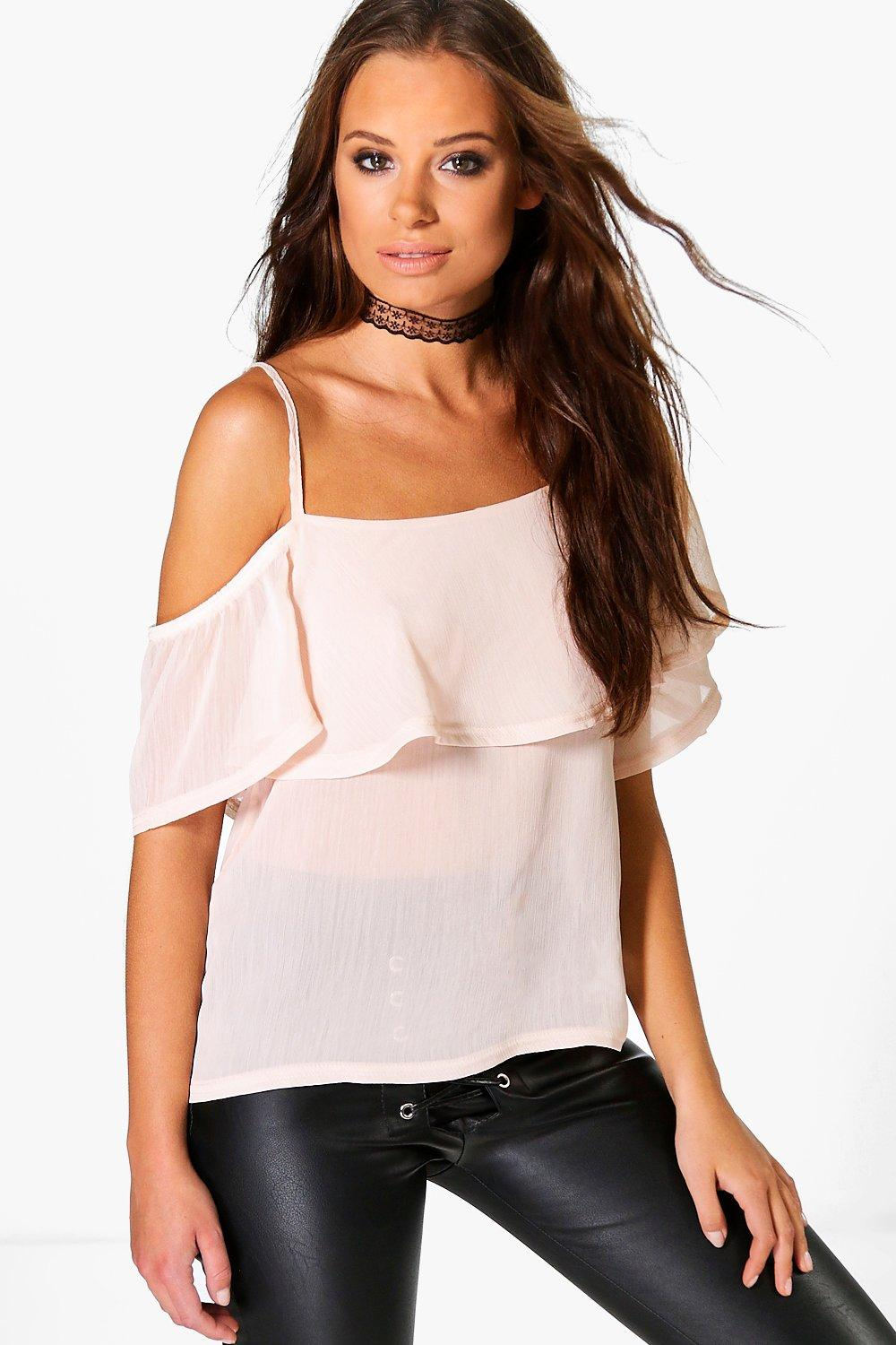 Evelyn Woven Frill One Shoulder Top