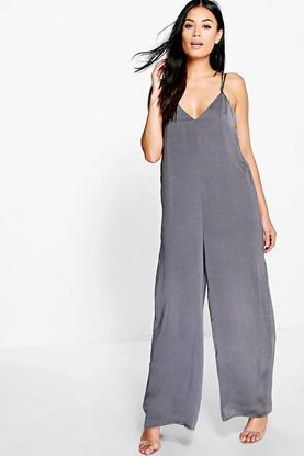 Emma Caged Strap Satin Jumpsuit