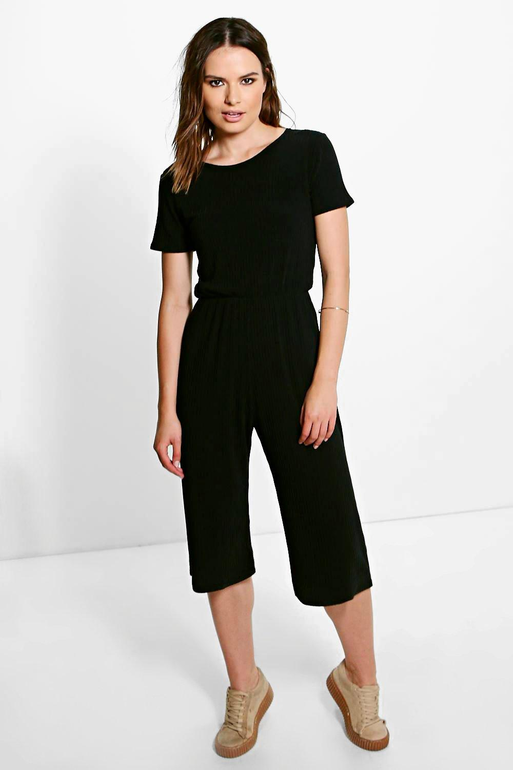 Ida Ribbed Capped Sleeve Culotte Jumpsuit