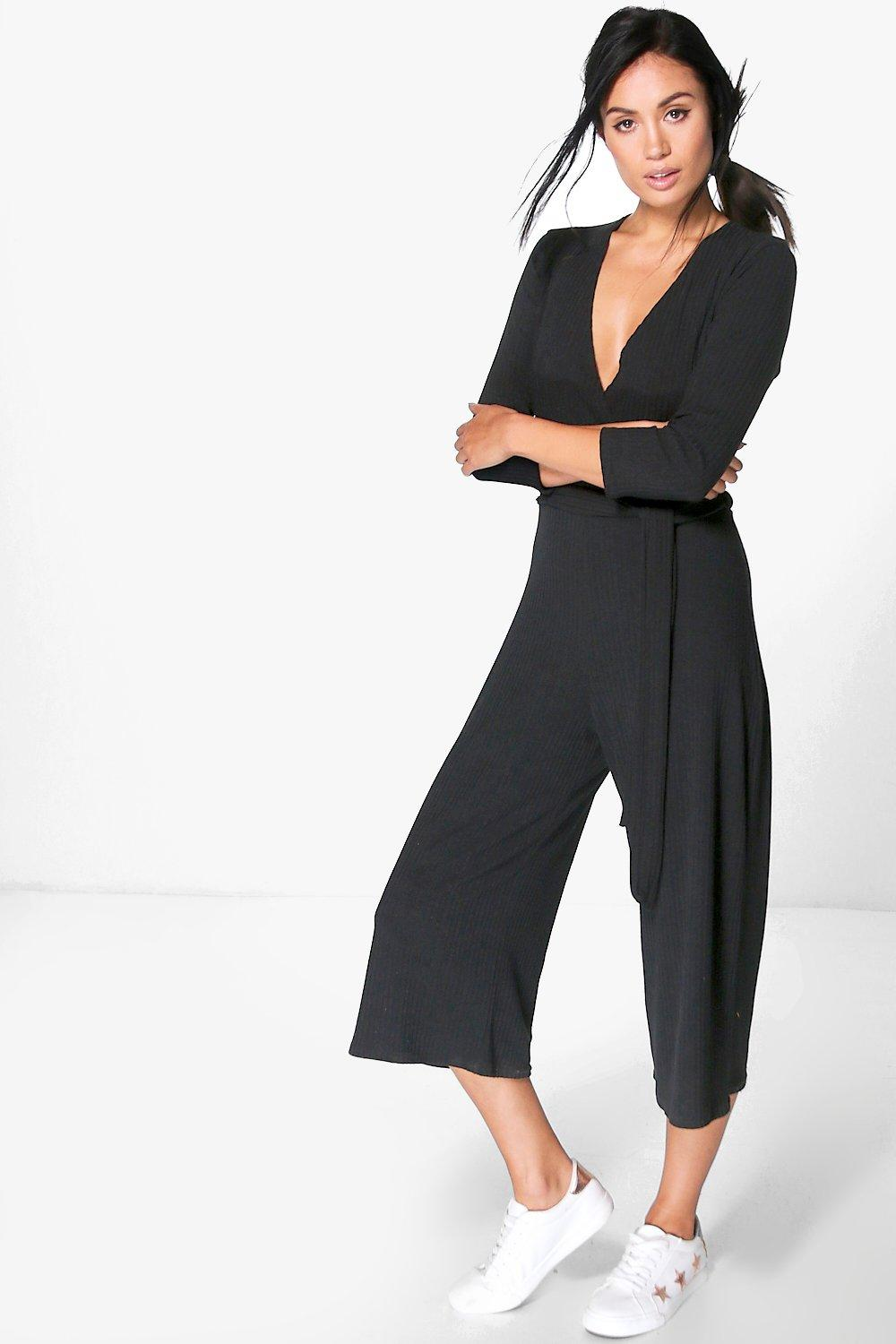 Jen Ribbed Self Belt Wrap Front Culotte Jumpsuit