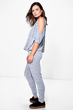 Zena Cold Shoulder Top & Jogger Knit Loungewear Set