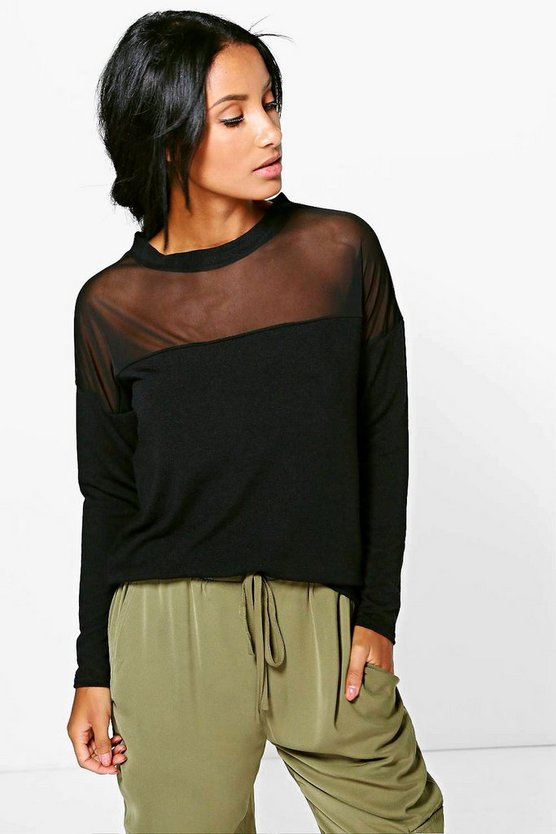 Leah Sheer Panel Long Sleeve Top