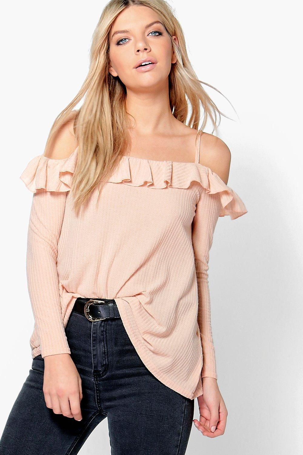 Lucy Double Ruffle Open Shoulder Long Sleeve Top