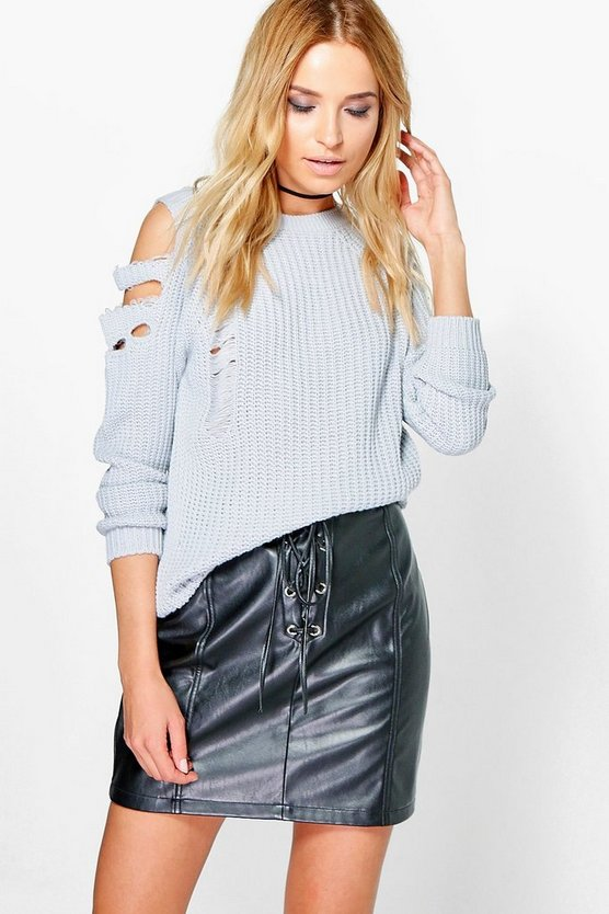 Anna Distressed Cold Shoulder Jumper