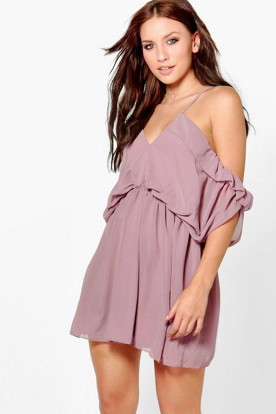 Mora Chiffon Open Shoulder Skater Dress