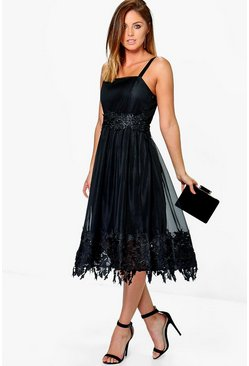 Boutique Em Mesh Lace Midi Skater Dress