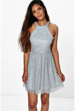 Boutique Aly Sequin Dip Hem Skater Dress