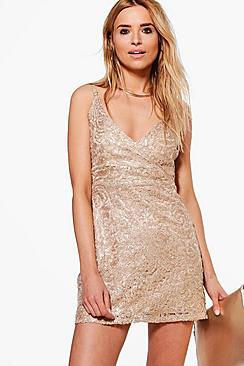 Boutique Sade Lace Sequin Bodycon Dress