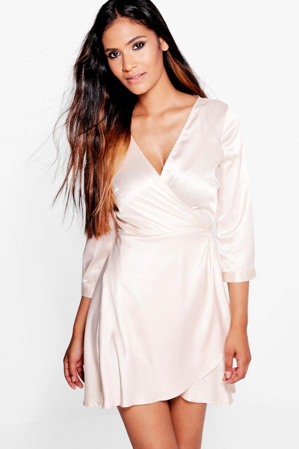 Hera Satin Wrap Detail Skater Dress