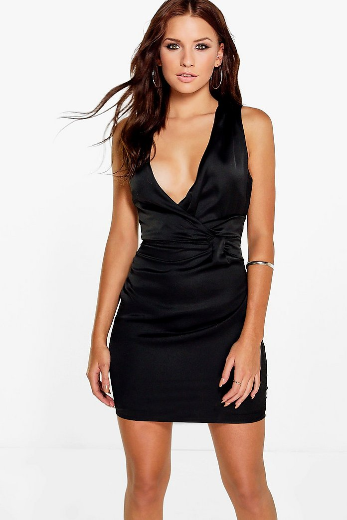 Pia Satin Cross Over Skater Dress