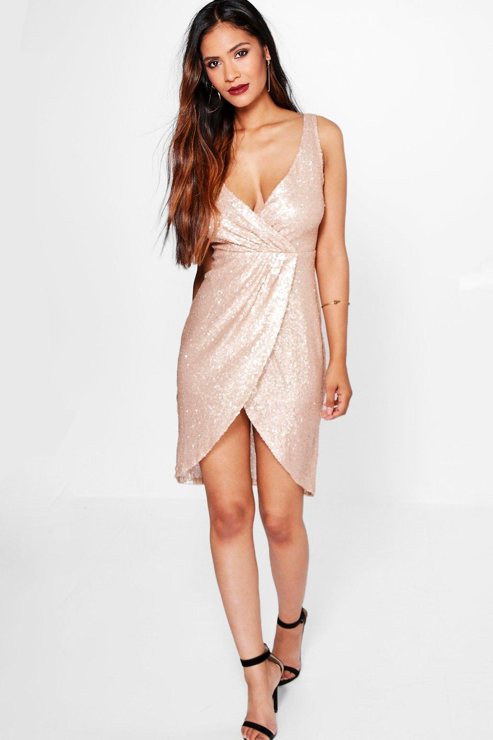 Boutique Emm Sequin Wrap Midi Dress
