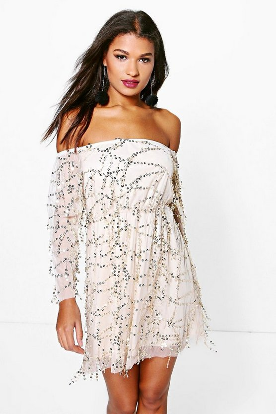 Boutique Fran Sequin Off The Shoulder Skater Dress