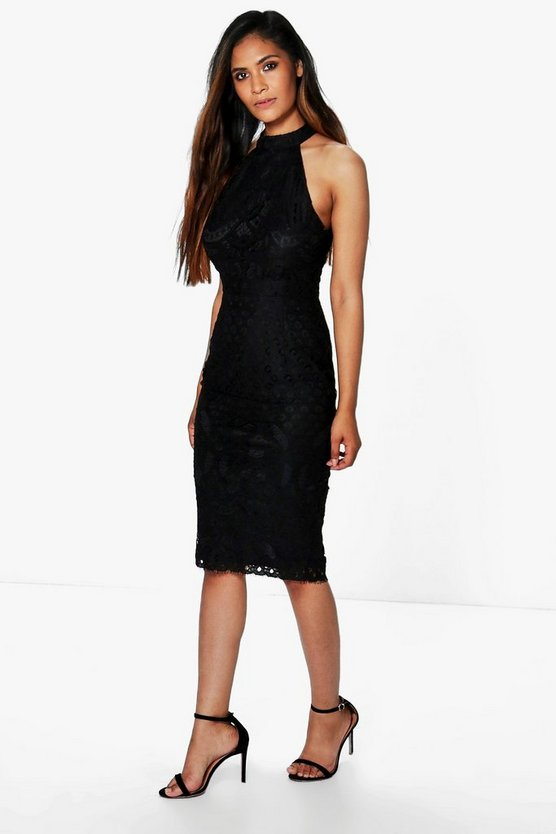 Lani Lace Panel Sleeveless Midi Dress