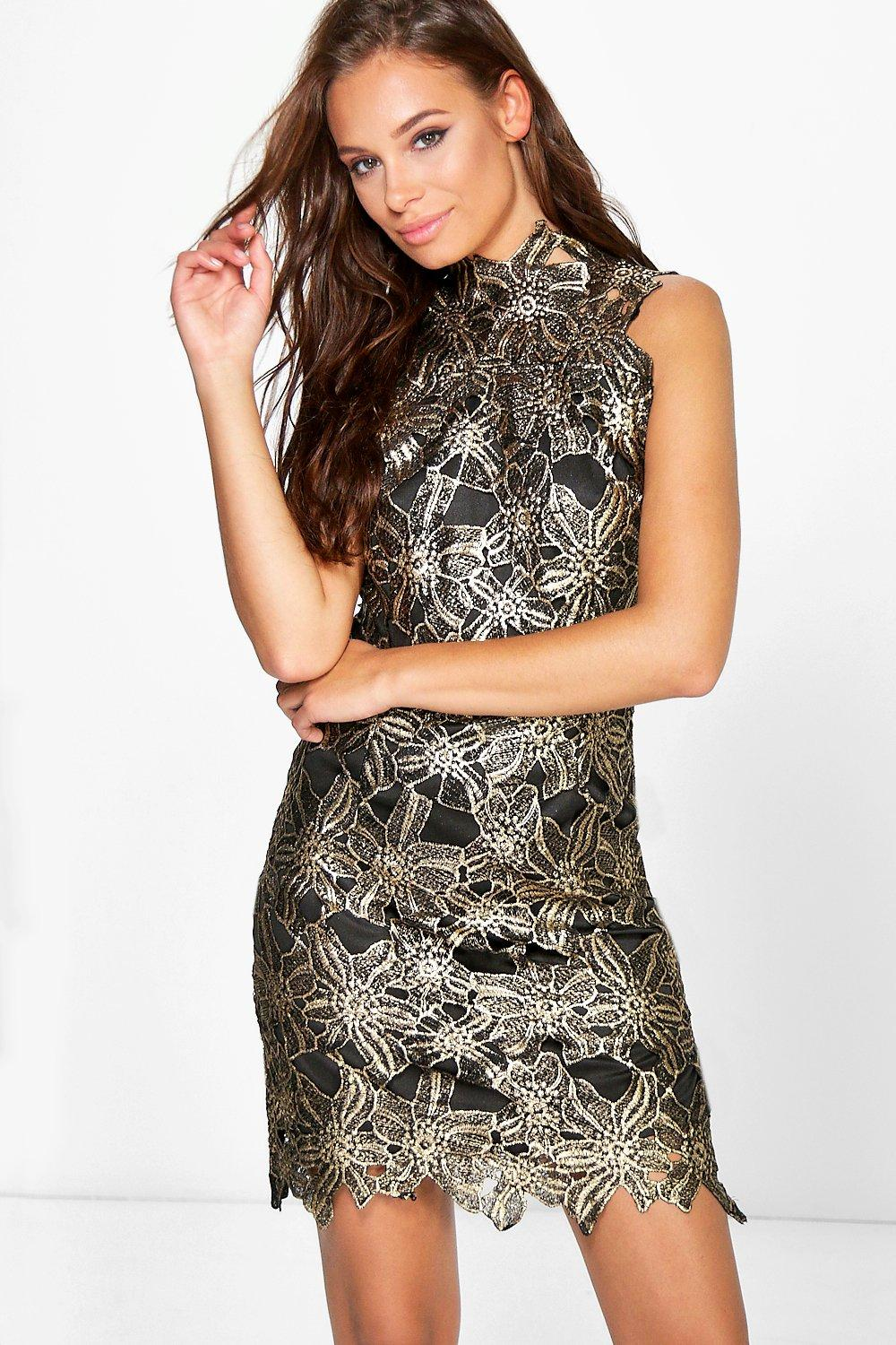 Boutique Jina Metallic Lace Bodycon Dress
