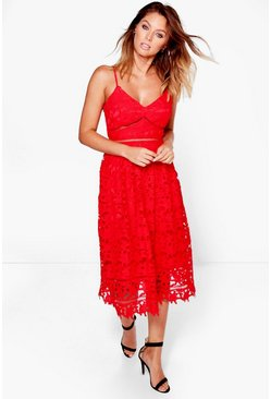 Boutique Alix Corded Lace Midi Skater Dress