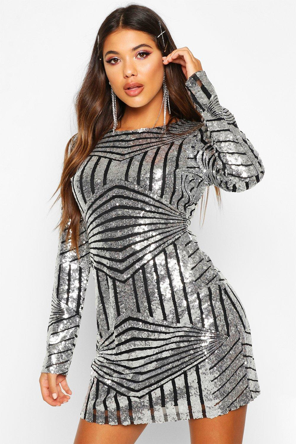 Boutique Luci Sequin Mesh Bodycon Dress | Boohoo