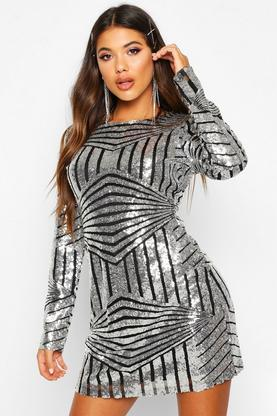 Boutique Luci Sequin Mesh Bodycon Dress