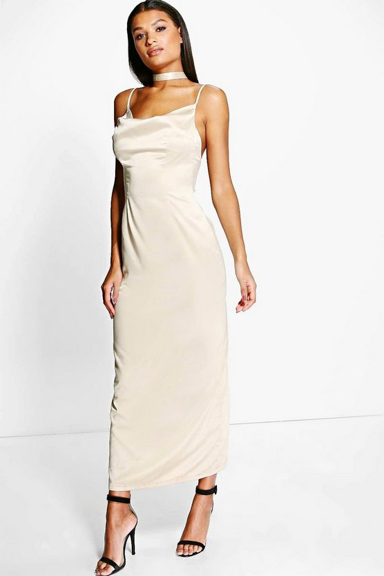 Di Satin Cowl Neck Open Back Maxi Dress