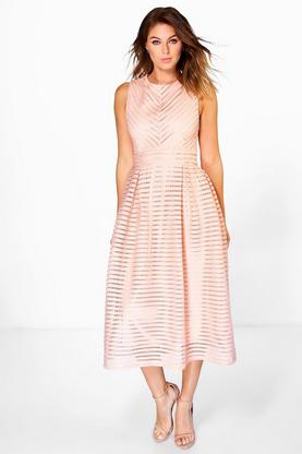 Lara Panelled High Neck Midi Skater Dress