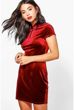 Milly Velvet Collar Detail Bodycon Dress