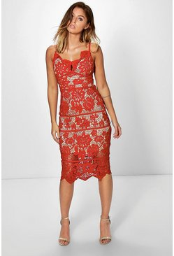 Boutique Jackie Scallop Lace Midi Dress