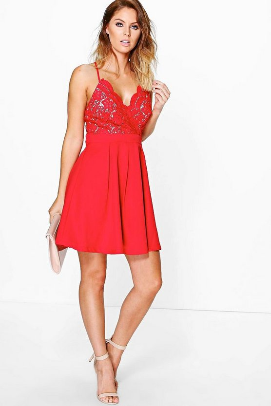 Boutique Esme Scallop Lace Skater Dress