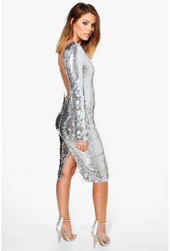 Boutique Nora Sequin Open Back Midi Dress