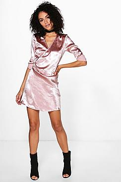 Verity Satin Belted Wrap Dress