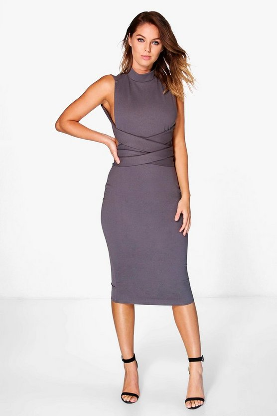Ari High Neck Wrap Detail Midi Dress