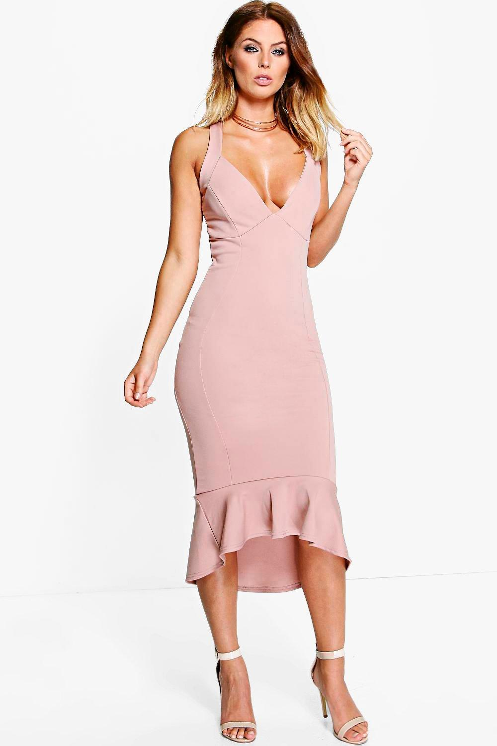Sara Cross Strap Peplum Hem Midi Dress