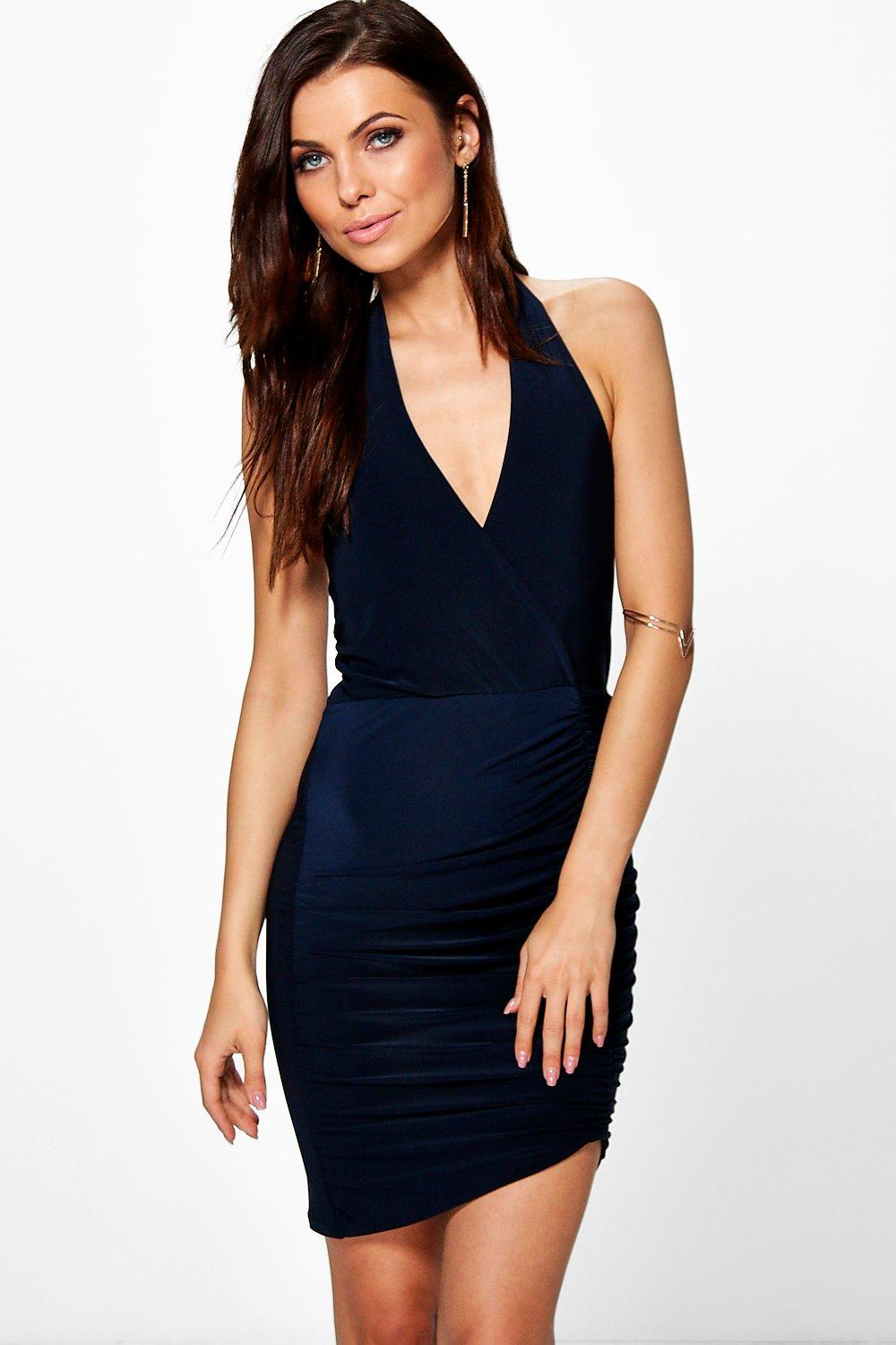 Gia Slinky Halter Neck Front Bodycon Dress