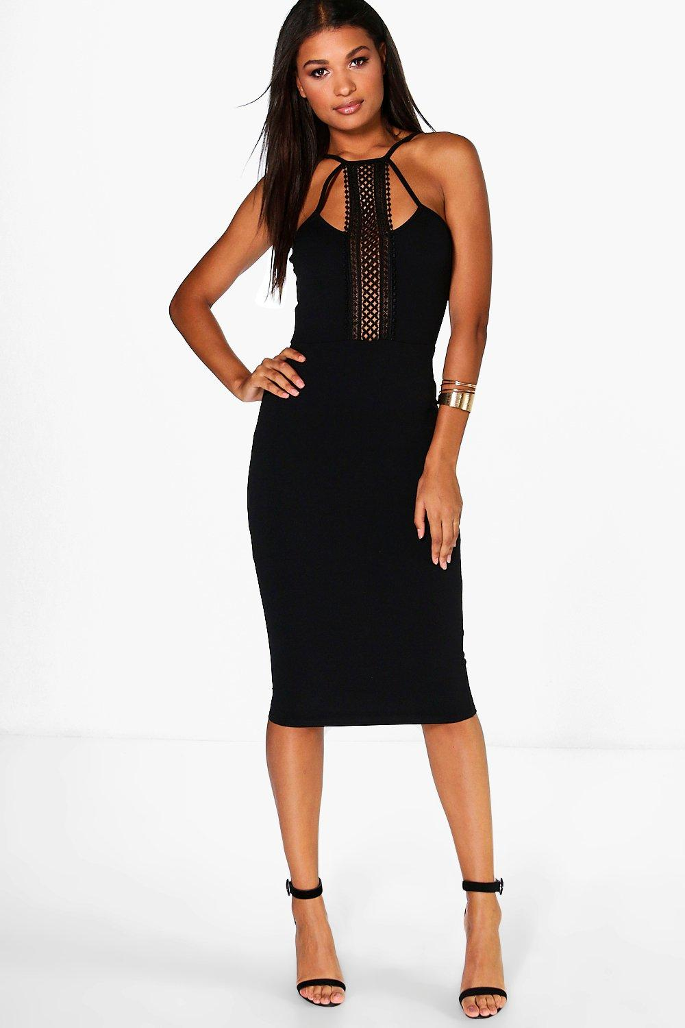 Erin Crochet Neck Trim Strappy Midi Dress