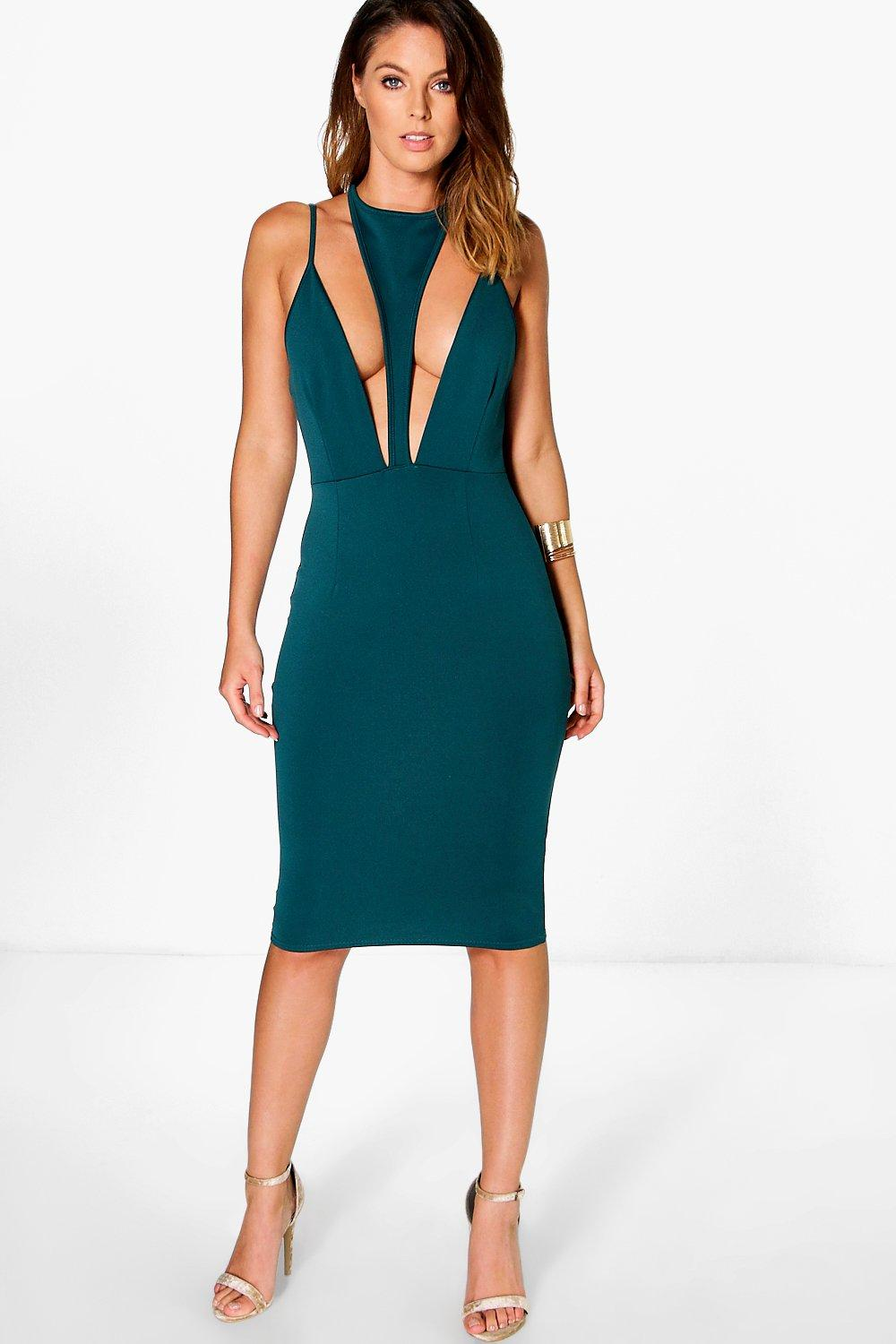 Kyra Strappy Front Plunge Neck Midi Dress