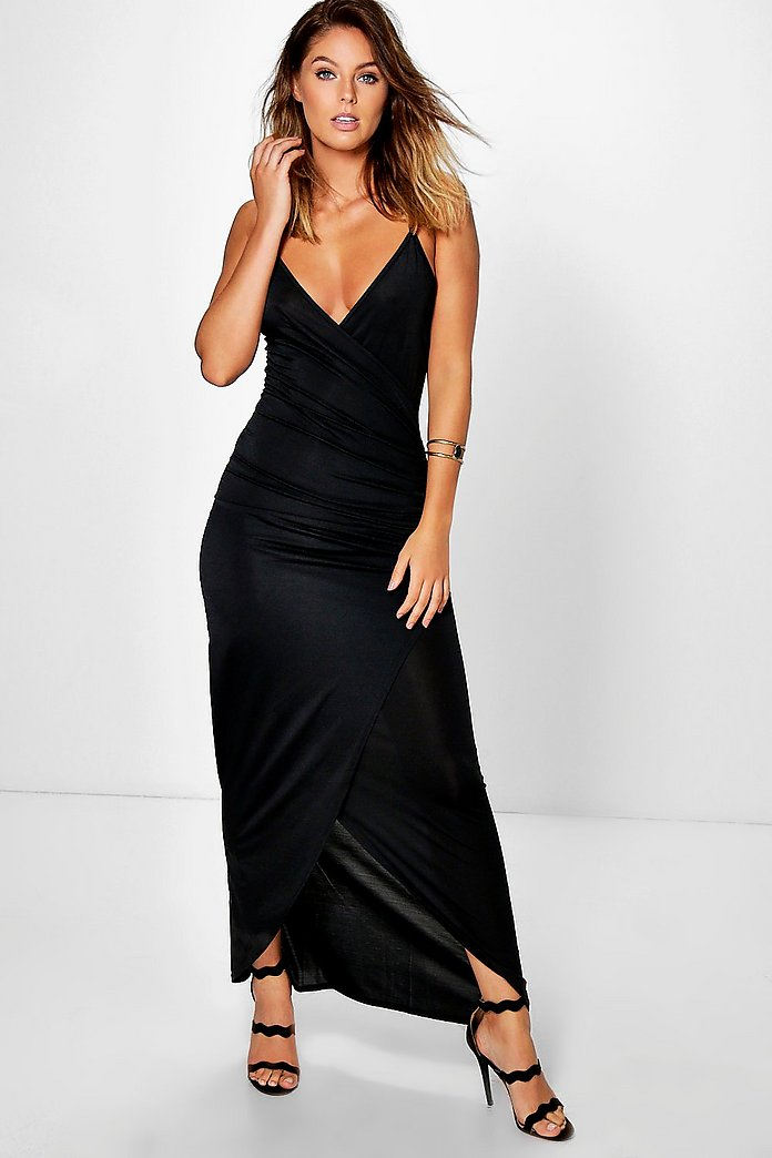 Kiki Textured Slinky Wrap Maxi Dress