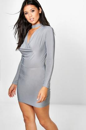 Leia Choker Slinky Cowl Bodycon Dress