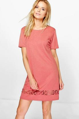 Belle Lazer Cut 3/4 Sleeve Shift Dress