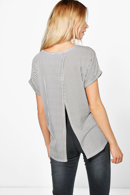 Stripe Open Back TShirt  khaki
