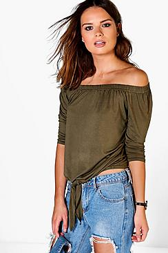 Martha Tie Front Off The Shoulder Top