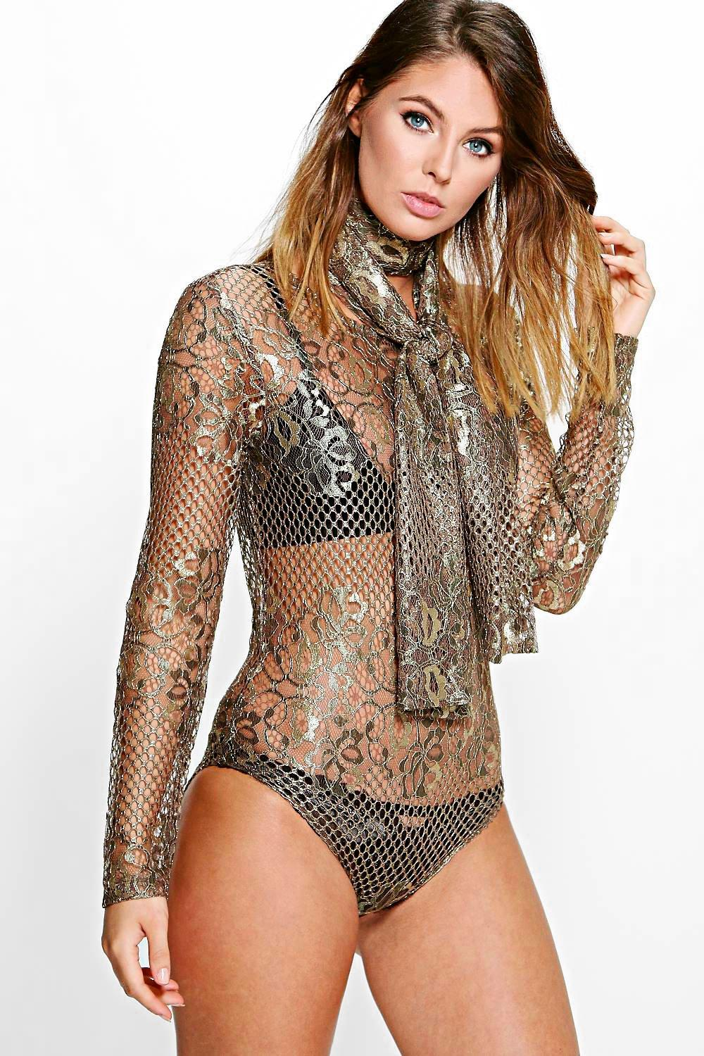 Niamh Boutique Metallic Lace Neck Tie Bodysuit