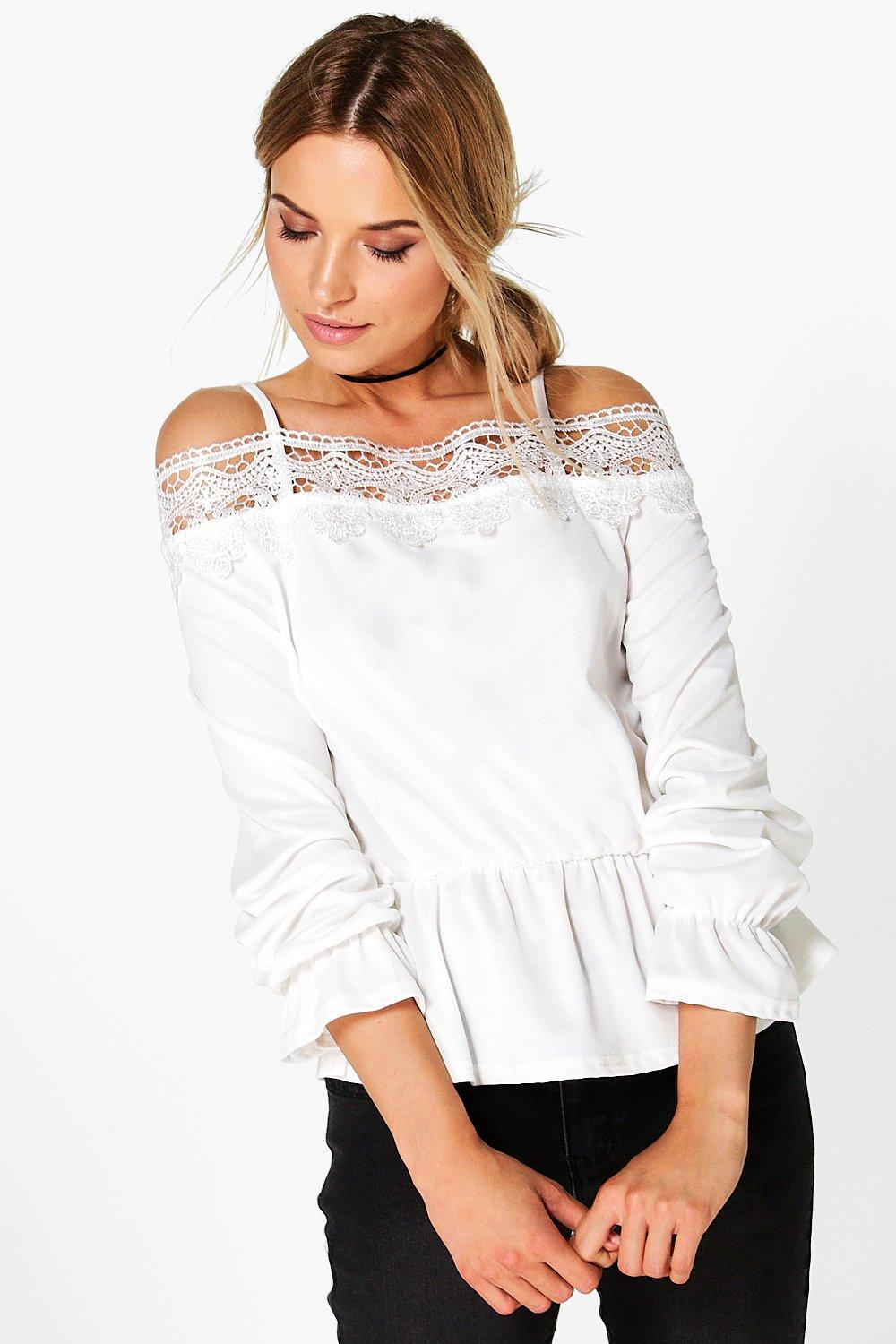 Isla Crochet Trim Cold Shoulder Top