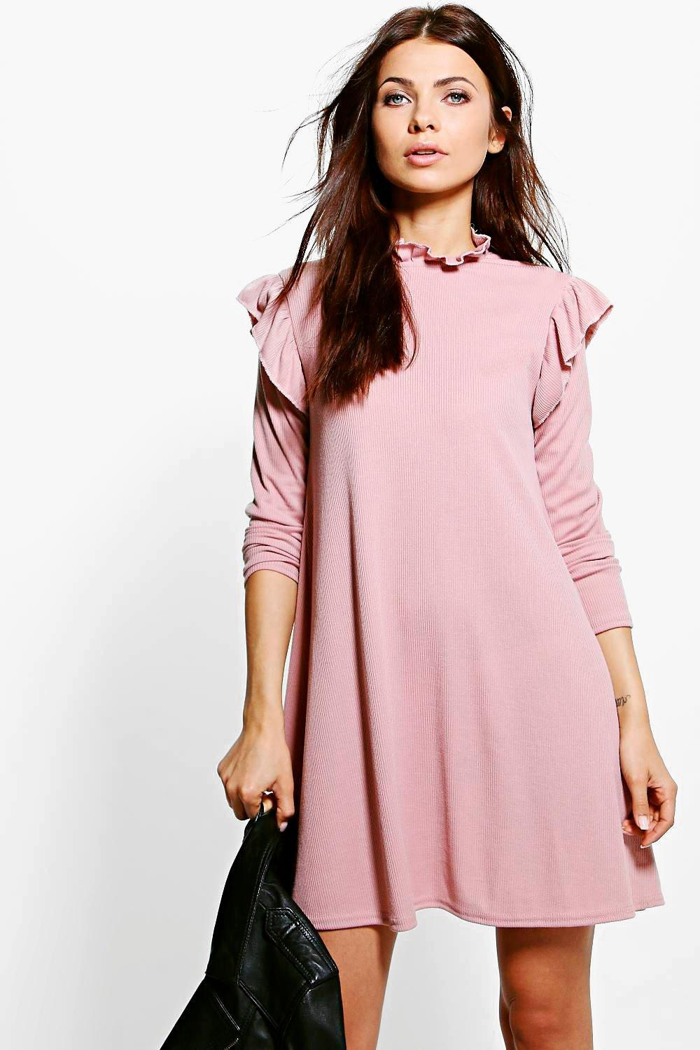 Katie Ruffle Sleeve Rib Knit Swing Dress